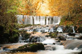 водопад, поток, природа, осень
