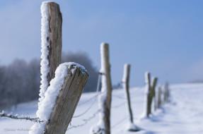 столб, забор, ограда, снег, проволока, макро