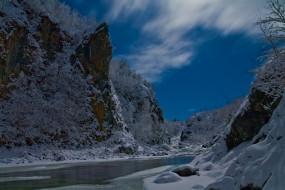 река, природа, зима, гора, деревья