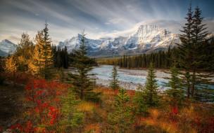 Canada, осень, река, горы, Jasper National Park