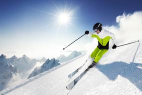 спорт, лыжный спорт, небо, вершина, снег, лыжи, спуск, экстрим, горы, слалом, лыжник