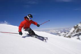 спорт, лыжный спорт, лыжи, спуск, экстрим, горы, снег, вершина, небо, слалом, лыжник