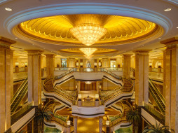 люстра, лестница, Абу-Даби, эскалатор, ОАЭ, отель