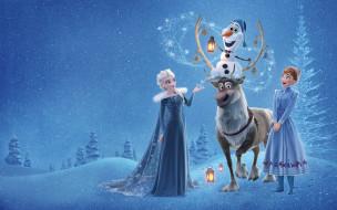 olaf`s frozen adventure, мультфильмы, холодное, приключение, олаф