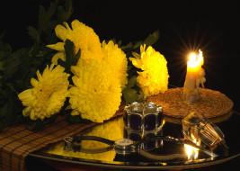 цветы, очки, свечи, часы