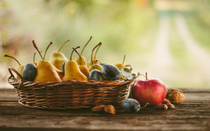 яблоки, груши, фрукты, натюрморт, орехи, сливы