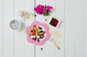 овсянка, вафля, джем, завтрак, ягоды