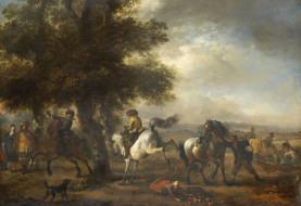 Филипс Вауэрман, картина, пейзаж, Французский Наездник, дерево, масло