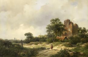 картина, дерево, Андреас Схелфхаут, масло, Пейзаж с Руинами Замка Бредероде в Сантпоорте