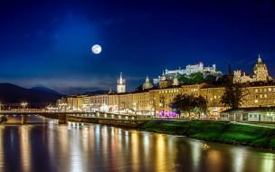 ночь, луна, река, мост