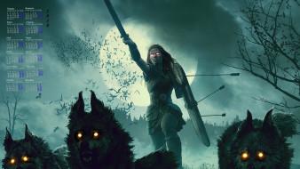 волк, стрела, женщина, 2018, щит, меч
