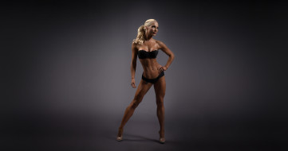 anna virmajoki, девушки, -unsort , блондинки,  светловолосые, anna, virmajoki, стоит, поза, фон, серый, макияж, мышцы, фигура, фитнес, спортсменка, модель, блондинка, девушка