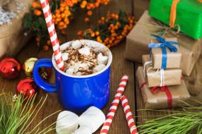 трубочки, подарки, зефирки, шары, кофе