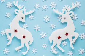 голубой фон, снежинки, олени, текстура