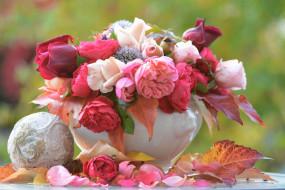букет, осень, цветы, ваза, листья, розы