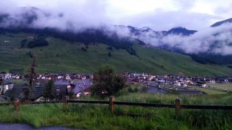 туман, городок, горы