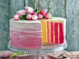 тюльпаны, торт, многослойный