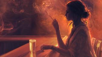 дым, стакан, сигарета, бар, девушка