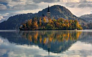 города, блед , словения, отражение, остров, озеро, церковь