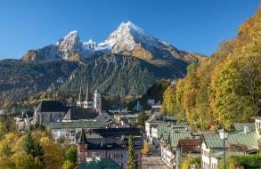 дома, церковь, горы, Германия, улица, Бавария, осень, пейзаж, Берхтесгаден