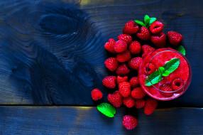 ягоды, малина, мята