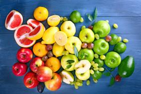яблоки, лимоны, виноград, грейпфрут, авокадо
