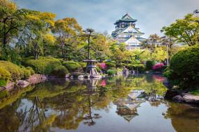 osaka castle, города, замки Японии, замок