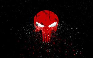 черный фон, красный, skull, осколки, the punisher, каратель, арт, череп