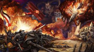 солдаты, монстры, война, стимпанк, мир, иной