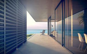 дом, коридор, кресло, море