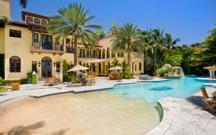 пальмы, бассейн, столики, дом, особняк
