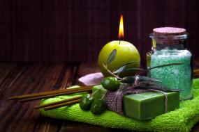 разное, косметические средства,  духи, соль, мыло, оливки, свеча