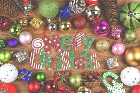декор, игрушки, надпись, праздник, рождество