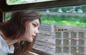 взгляд, окно, профиль, девушка, 2018
