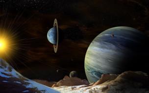 3д графика, атмосфера, настроение , atmosphere ,  mood , галактика, звезды, вселенная, планеты