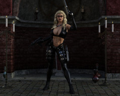 пистолет, девушка, фон, униформа