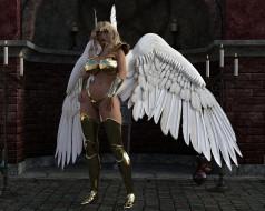 девушка, фон, униформа, крылья, взгляд
