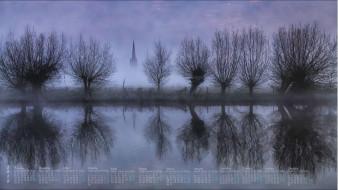 туман, деревья, отражение, водоем, 2018