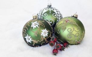 шарики, ягоды, Новый год, новогодние игрушки, шары, Рождество