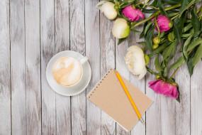 блокнот, пионы, цветы, кофе