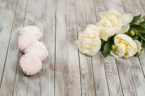сладость, цветы, пионы, зефир