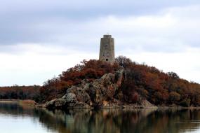 озеро, башня, остров