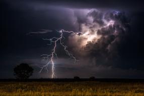 природа, молния,  гроза, простор