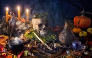 Halloween, свечи, натюрморт, череп, тыква