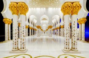 архитектура, Абу-Даби, Мечеть шейха Зайда, колонны, ОАЭ