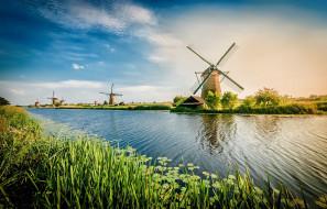 Нидерланды, канал, Kinderdijk, водоём, мельница