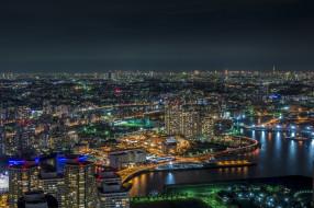 Yokohama Bay, огни, Япония, ночь, Токио
