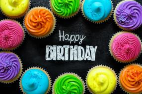 праздничные, день рождения, надпись, кексы