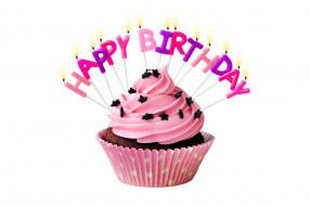 праздничные, день рождения, кекс, свечи, надпись
