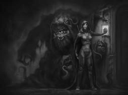 плащ, чудовище, меч, дверь, привратник, улыбка, art, охранник